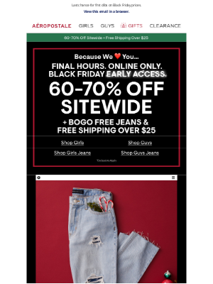 Aeropostale - FINAL HOURS: 60-70% OFF SITEWIDE! Online Only.