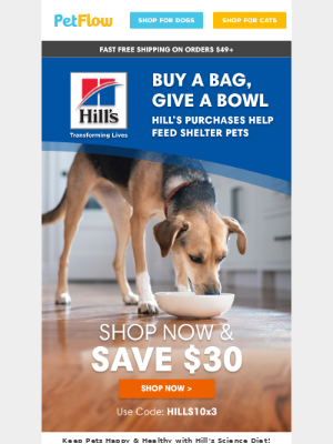 Buy a Bag of Hill's, Give a Bowl to Pets in Need