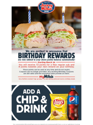 Jersey Mikes - Starting March 1st Birthday Rewards to Shore Points