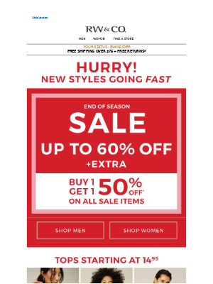 Back for more: up to 60% SALE