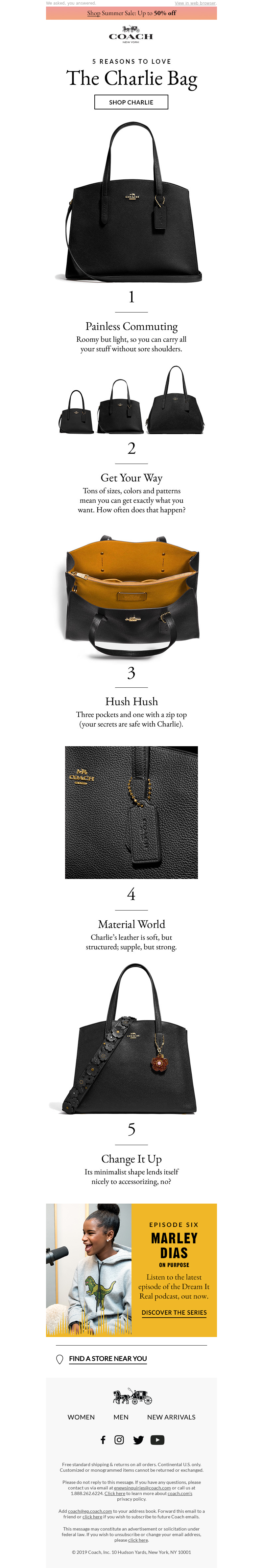 Product promotional email example from Coach