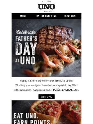 Uno Pizzeria & Grill - Celebrate Father's Day Weekend with UNO