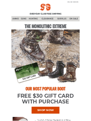 FREE $30 Gift Card with Monolithic Extreme Boots Purchase