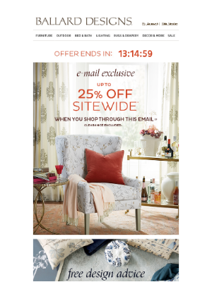 Ballard Designs - Last day to shop the Exclusive: Up to 25% off everything!
