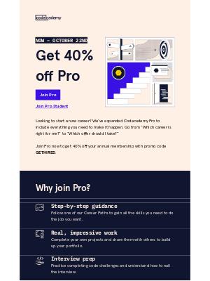Codecademy - 40% off Pro
