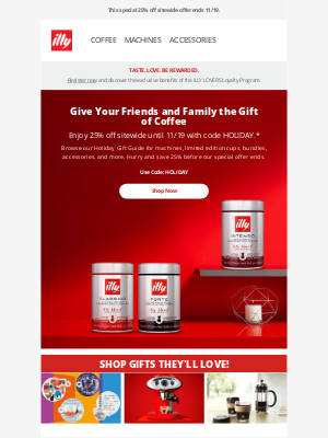 illy - Holiday Gifts for Coffee Lovers | 25% Off Sitewide Ends Soon