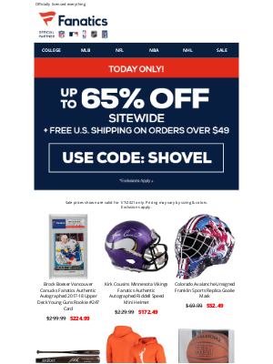 NHL - TODAY ONLY! Score Up To 65% Off + Free Shipping