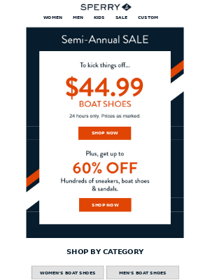 Starting Now: $44.99 Boat Shoes & Savings Up to 60% Off