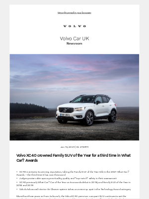 Volvo Cars - [Volvo Car UK News] Volvo XC40 crowned Family SUV of the Year for a third time in What Car? Awards