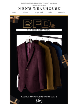 Men's Wearhouse - Last day for $69 Nautica Microsuede sport coats, $149 designer suits & MORE BFDs!