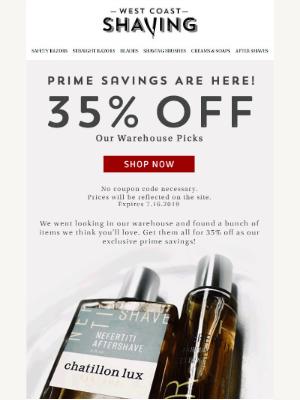 Our prime savings: 🛒 35% OFF warehouse picks