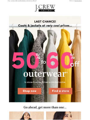 J.Crew Factory - Last day for VERY COOL PRICES: 50%-60% off outerwear for the family!!!