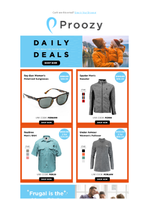 Proozy - Ray-Ban Polarized $69 | UA 1/2 Zip 3 for $60 | Spyder Sweater $56 | Realtree Fishing Shirt 2 for $20