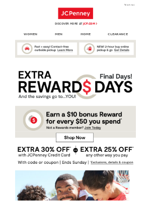 JCPenney - Your chance to earn a $10 Reward ends tomorrow