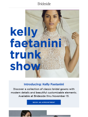 Brideside - Happening Now: Kelly Faetanini Trunk Show