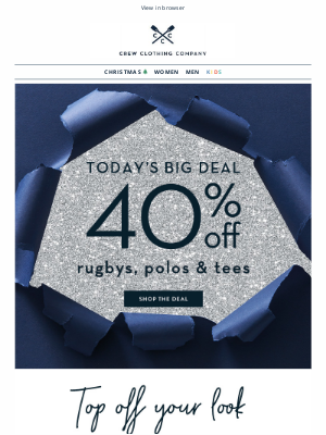 Crew Clothing (UK) - NEW deal 🌟 40% off rugbys, polos & tees