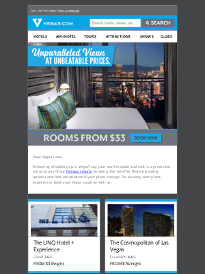 Vegas - Hotels starting at $33 + Free Cancellation