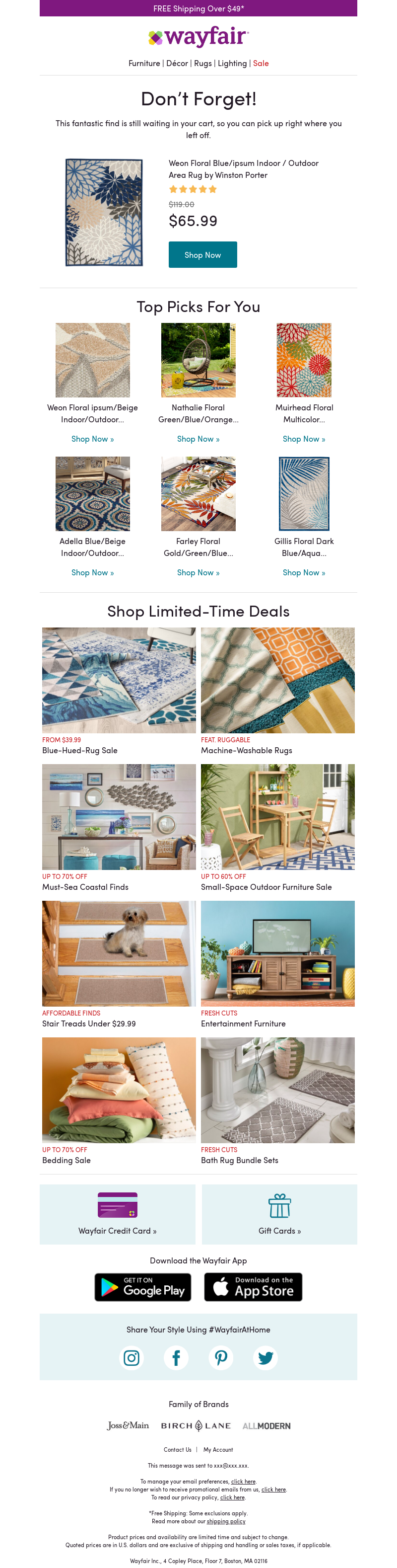 FREE Shipping Over $49* Wayfair Furniture | Décor | Rugs | Lighting | Sale