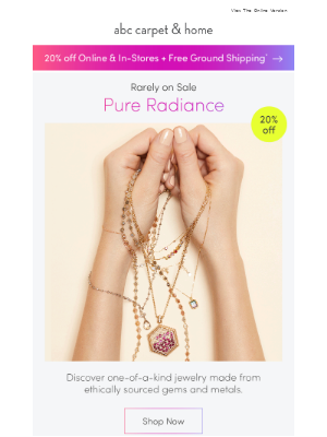 20% off: jewelry + clean beauty