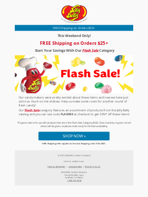 Jelly Belly Candy Company - Free Shipping on Orders $25+ & SAVE 50% On Select Items!