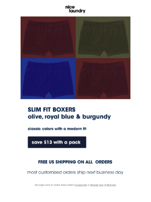 Nice Laundry - Slim fit boxers are back