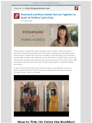 Poshmark - [New post] Poshmark and Marie Kondo Partner Together to Spark an Endless Cycle of Joy