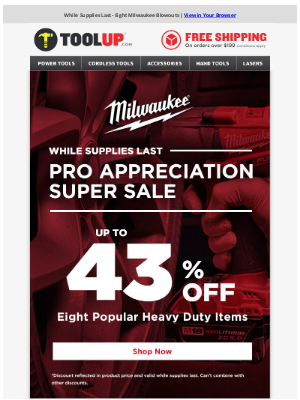 Toolup - Eight Milwaukee Steals - Up to 43% Off
