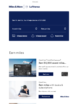 Lufthansa - Your current mileage balance in November
