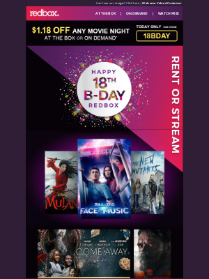 Redbox - Celebrate our 18th B-Day w/ $1.18 OFF