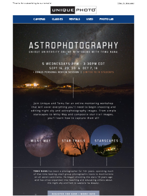 Unique Photo - Only 6 spots left for our Astrophotography Online Mentoring workshop!
