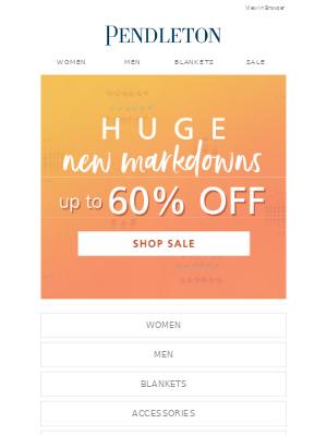 Pendleton Woolen Mills - Huge new markdowns