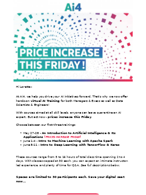 Heads Up: Prices Increase Friday for AI Training!