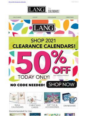 Calendars - Inventory Clearout | 50% Off Select Calendars