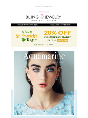 Bling Jewelry - True Blue: Shop March Birthstone + Get 20% off St. Patty's Jewelry!