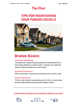 Pep Boys - Tips for Maintaining Your Parked Car: Brakes
