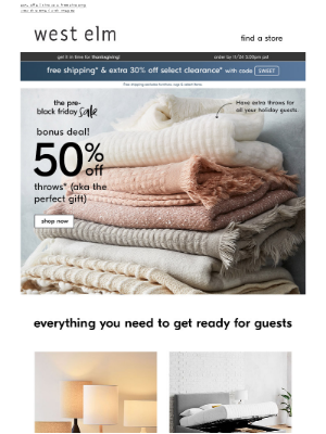 VERY giftable throws (now 50% off)