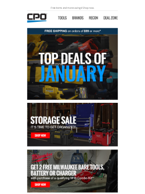 CPO Outlets - Check Out the Top New Tool Deals in January!