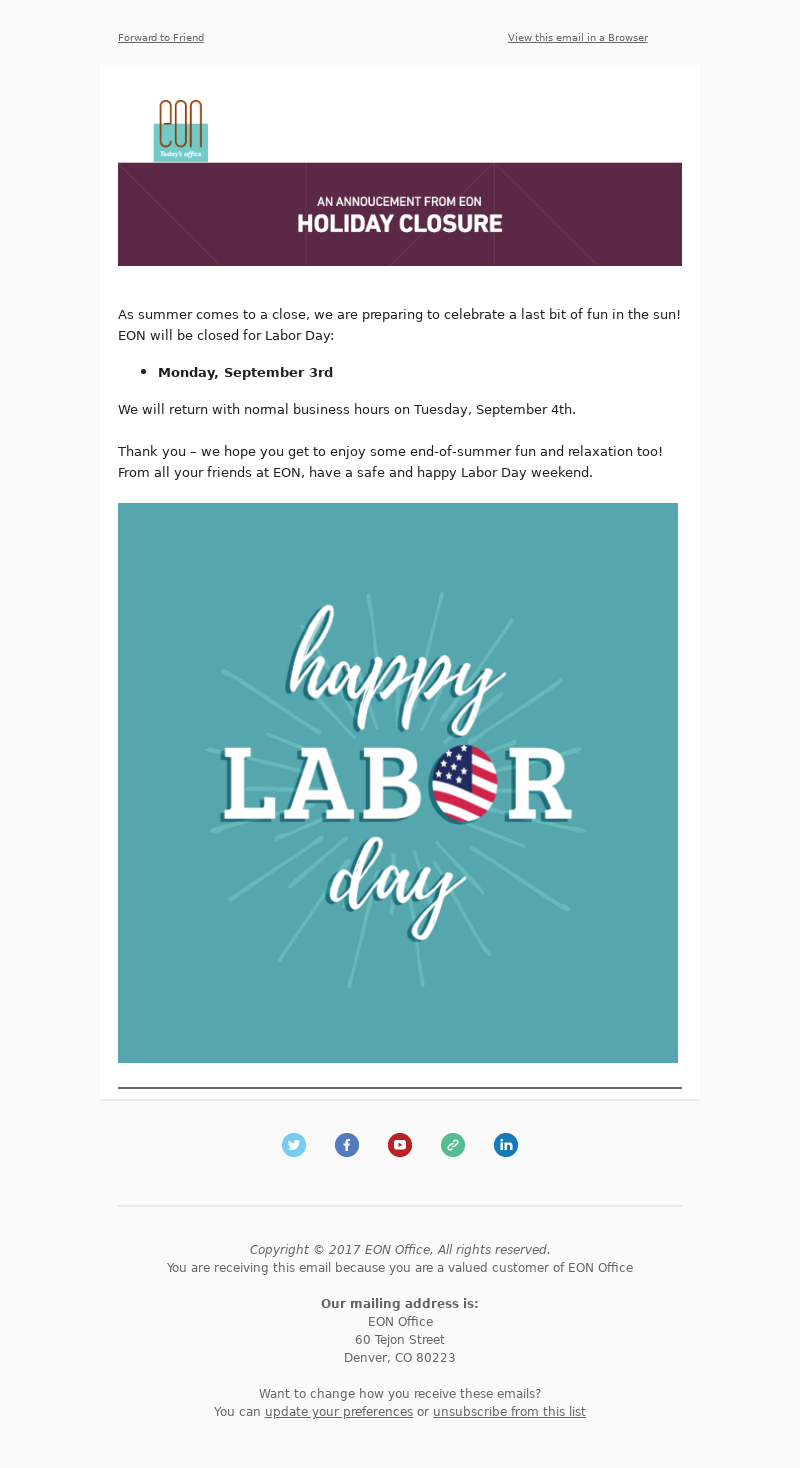 Happy Labor Day Email