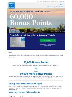 Hyatt Hotels - Diana, Earn up to 60k Bonus Points