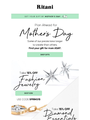 Ritani - Mother's Day Gifts: Take 15% Off Fashion Jewelry