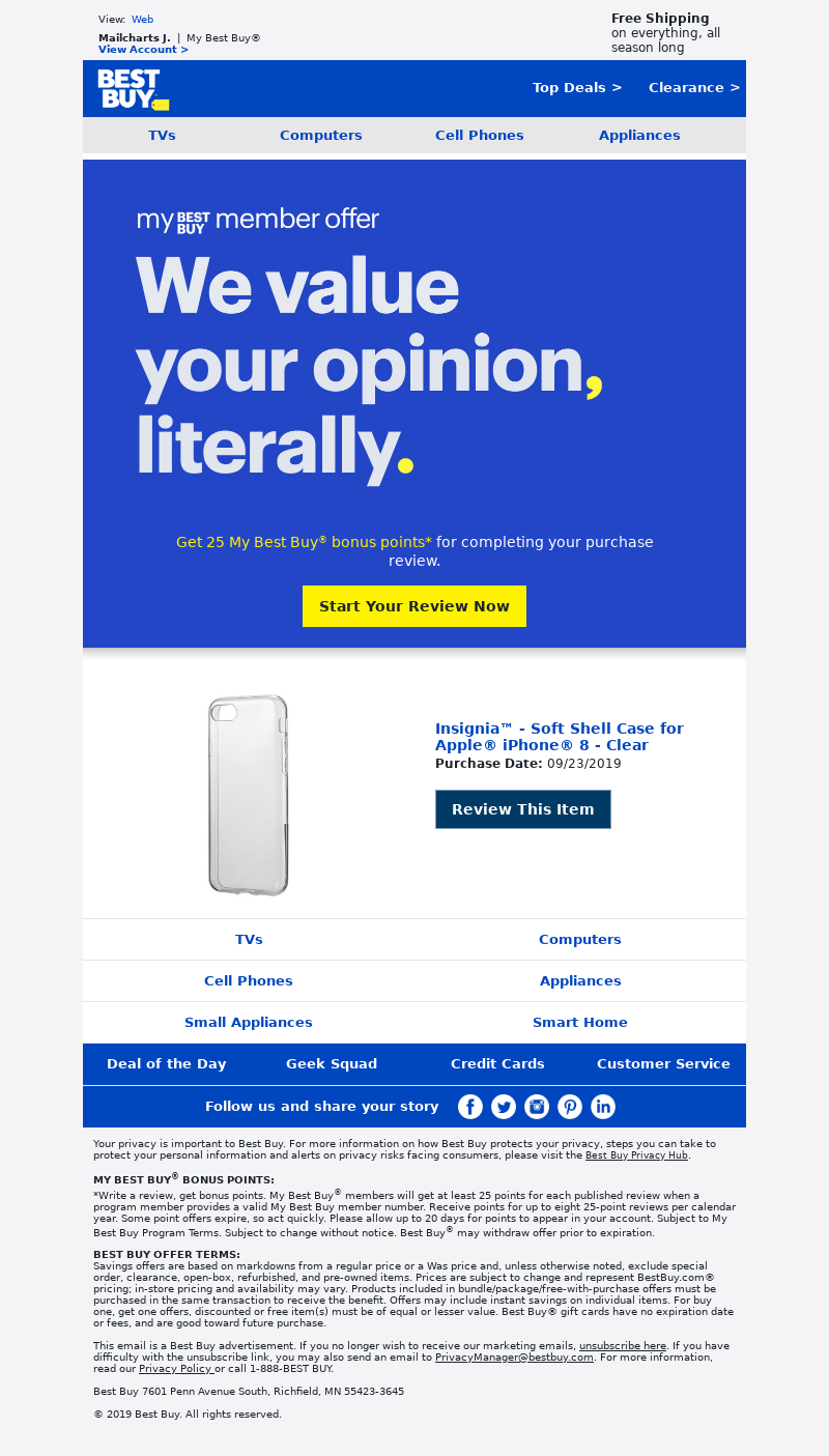 Best Buy - Mailcharts, review your recent purchase and get My Best Buy points