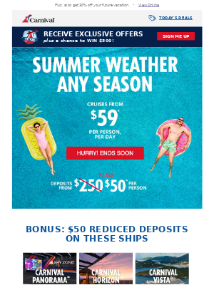 New Bonus: $50 Deposits On Our Newest Ships