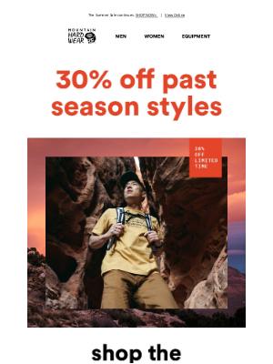 Mountain Hardwear - 30% off past season styles.