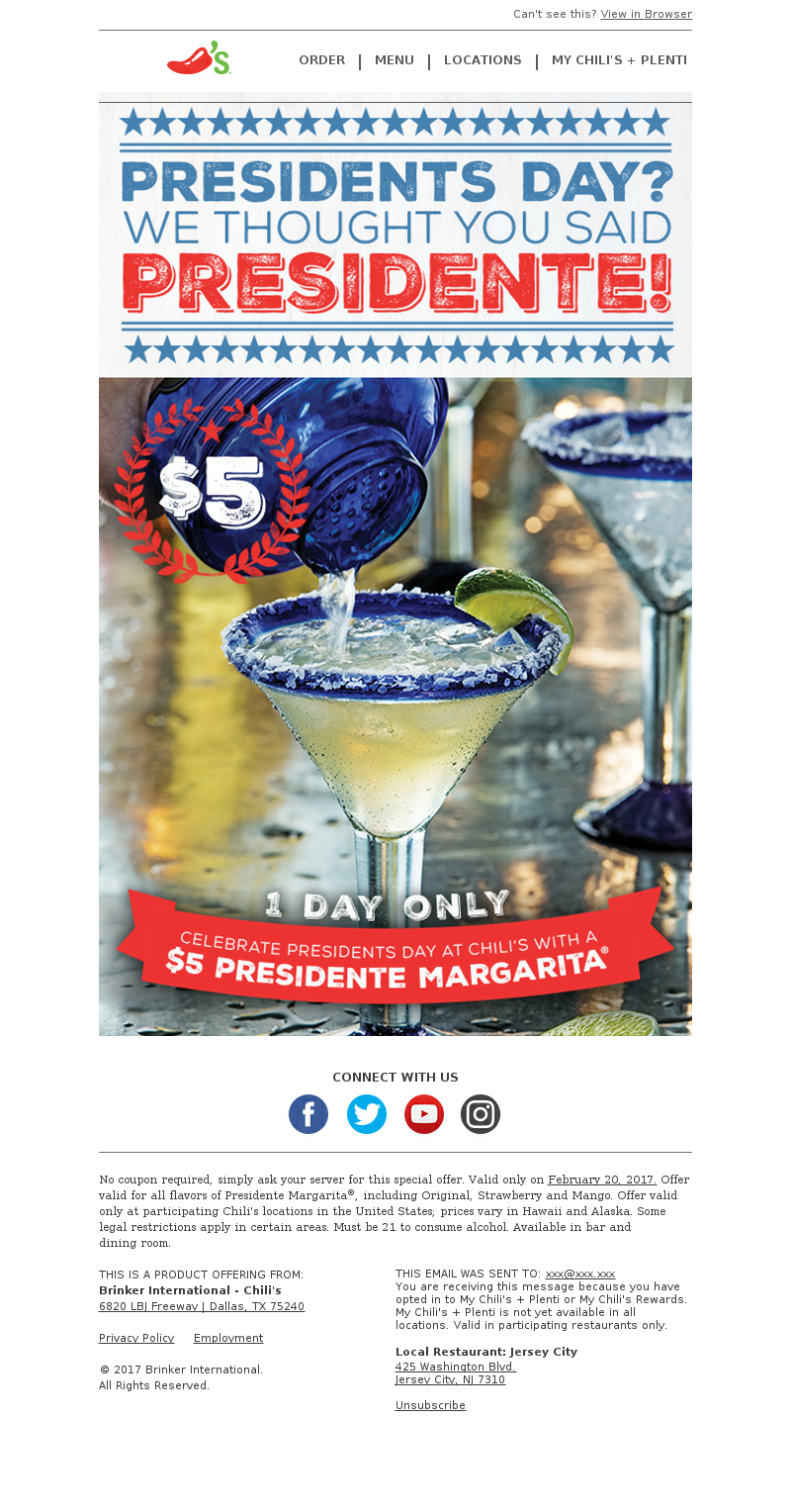 Chili's Grill & Bar - Head to Chili's for $5 🍹🍹 this Presidents Day!