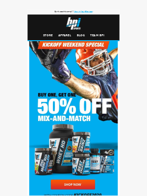 BPI Sports Nutrition Supplements - 🏈 KICKOFF SPECIAL 🏈 BUY ONE, GET ONE 50% OFF
