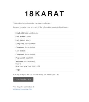 18 Karat Wholesale - USA: Subscription Confirmed