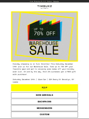 Up to 70% OFF at our Brooklyn Warehouse Sale!