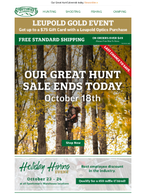 Sportsman's Warehouse - Hurry! Last chance to save on our Great Hunt Sale.