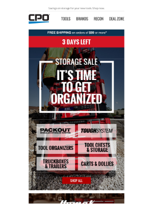 CPO Outlets - 3 Days Left for the Storage Sale! Get Organized in the New Year