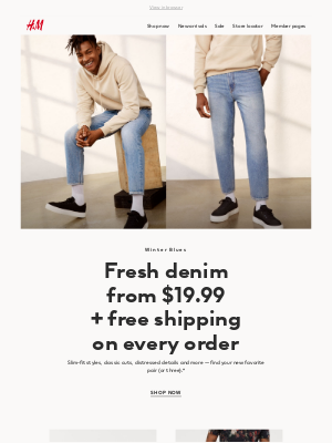 Pair up: New denim + free shipping!